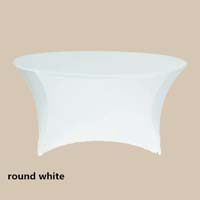 120 Round White Economic Spandex Table Cover Tablecloths