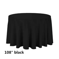 Black 108 Round Economic Visa Polyester Style Tablecloths Tablecloths
