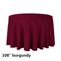 Burgundy 108 Round Economic Visa Polyester Style Tablecloths Tablecloths
