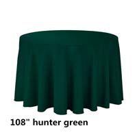 Hunter Green 108 Round Economic Visa Polyester Style Tablecloths Tablecloths