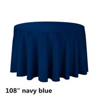 Navy Blue 108 Round Economic Visa Polyester Style Tablecloths Tablecloths