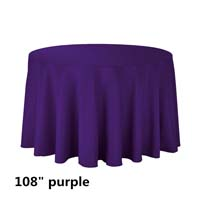 Purple 108 Round Economic Visa Polyester Style Tablecloths Tablecloths