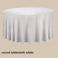White 108 Round Economic Visa Polyester Style Tablecloths Tablecloths