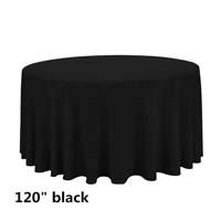 Black 120 Round Economic Visa Polyester Style Tablecloths Tablecloths