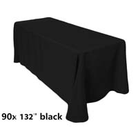 90x132 Black Economic Visa Polyester Style Table Drapes Tablecloths