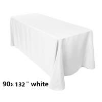 90x132 White Economic Visa Polyester Style Table Drapes Tablecloths
