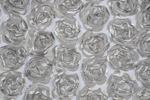 Silver Rosette Satin Bordeaux Tablecloths Tablecloths