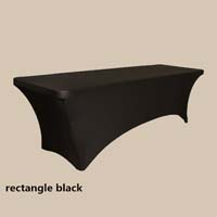 6ft Rectangle Black Economic Spandex Table Cover Tablecloths