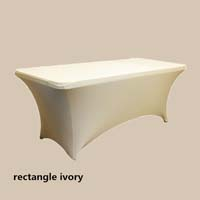 8ft Rectangle Ivory Economic Spandex Table Cover Tablecloths