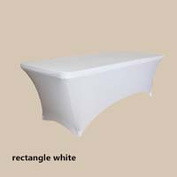 8ft Rectangle White Economic Spandex Table Cover Tablecloths