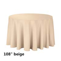 Beige 108 Round Economic Visa Polyester Style Tablecloths Tablecloths