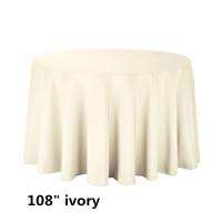 Ivory 108 Round Economic Visa Polyester Style Tablecloths Tablecloths
