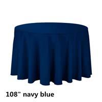 Navy Blue 108 Round Economic Visa Polyester Style Tablecloths Tablecloths