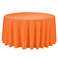Orange 108 Round Economic Visa Polyester Style Tablecloths Tablecloths