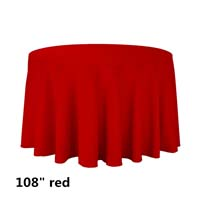 Red 108 Round Economic Visa Polyester Style Tablecloths Tablecloths