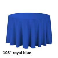 Royal Blue 108 Round Economic Visa Polyester Style Tablecloths Tablecloths