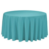 Turquoise 108 Round Economic Visa Polyester Style Tablecloths Tablecloths