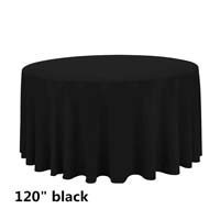 Black 120 Round Economic Visa Polyester Style Tablecloths Tablecloths