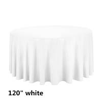 White 120 Round Economic Visa Polyester Style Tablecloths Tablecloths