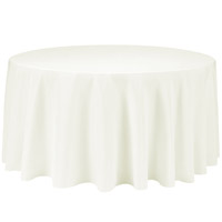Ivory 132 Round Economic Visa Polyester Style Tablecloths Tablecloths