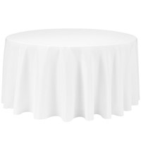 White 132 Round Economic Visa Polyester Style Tablecloths Tablecloths