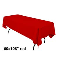 Red  60X108 Economic Visa Polyester Style Tablecloths Tablecloths
