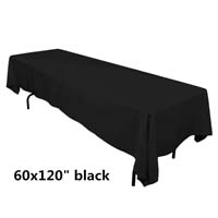 Black 60X120 Economic Visa Polyester Style Tablecloths Tablecloths