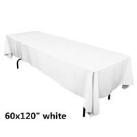 White 60X120 Economic Visa Polyester Style Tablecloths Tablecloths