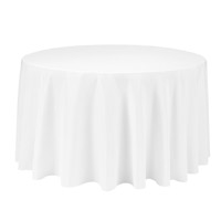 White 90 Round Economic Visa Polyester Style Tablecloths Tablecloths