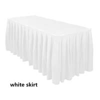 White Economic Visa Polyester Style Table Skirts Skirting