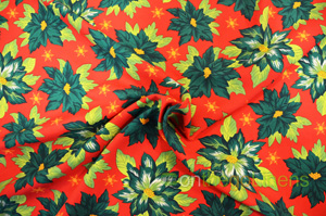 Polyester Poinsettia Christmas Floral Fabric Yards