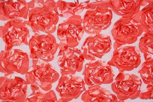 Coral Rosette Satin Bordeaux Tablecloths Tablecloths