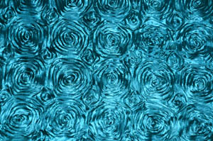 Teal Rosette Satin Tablecloths Tablecloths